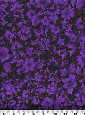 Fabric #2163 Purple Floral & Foliage on Black Jinny Beyer RJR End of Bolt at 50""