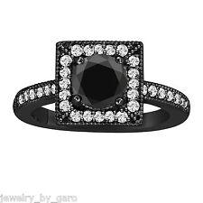 14K BLACK GOLD ENHANCED BLACK  DIAMOND ENGAGEMENT RING 1.40 CARAT