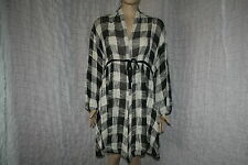 The Masai Clothing mesh knotted knitted checked belted asymmetric coat size L