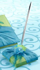 Lillian Rose Blue & Green Ring Pillow, Guest Book, Flower Basket, Pen Set 820