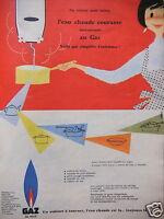 PUBLICITÉ 1957 GAZ DE VILLE L'EAU CHAUDE COURANTE INSTANTANÉE - ADVERTISING