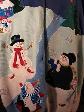 Christmas Snowman Outdoor Sleigh Snow Womens Sweater Size 3X Holiday Ugly