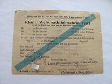 2 WK Kl. Wehrmachtfahrschein T 1,1 Komp Heeresunteroffizierschule Teischen 1943