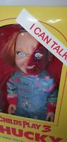 "TALKING CHUCKY DOLL CHILD'S PLAY 3 PIZZA FACE 15"" MEGA FIGURE w/SOUND MEZCO 38cm"