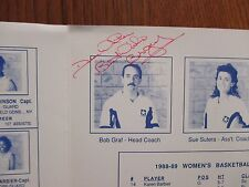 "BOB GRAF  Signed  Queen's  College  Womens  Basketball  9"" x 12"" Folder/Brochure"