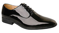 Mens New Black Leather Lined Patent Wedding Shoes Size 6 7 8 9 10 11 12 13 14