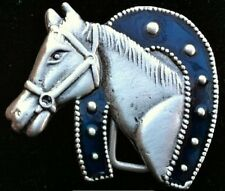 Lucky Horseshoe Horse Cowboy Rodeo Western Belt Buckle Boucle de Ceinture