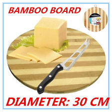 Bamboo Round Cheese Chopping Cutting Board Bread Antipasti kitchen w/h Hook fw