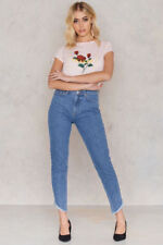 NA-KD Slanting Hem High Waist Jeans Size 10 Uk BNWT Naked RRP £49 Mid Blue