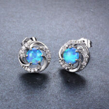 Womens White Blue Fire Opal 925 SIlver Round Cut Six Claw Spiral Stud Earrings