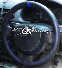 FOR FORD TRANSIT CONNECT 2002+ BLACK LEATHER STEERING WHEEL COVER + R BLUE STRAP