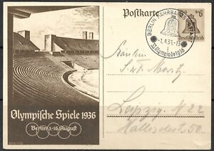 DR 1936 Ganzsachenpostk. P 259 - 6+4 Pf.braun-Olymp.Sommersp.Berlin1936,Bln-Leip