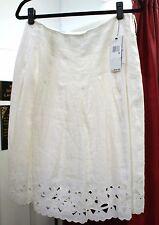 DKNY White Linen Eyelet Hearts Skirt Sz 6 $245 Style # P291713CA