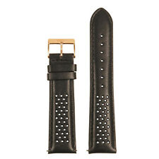 StrapsCo Perforated Leather Rally Watch Band Quick Release (Rose Gold Buckle)