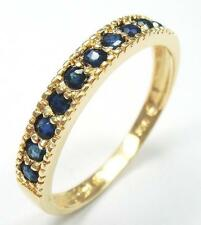 BEAUTIFUL 10KT YELLOW GOLD NATURAL SAPPHIRE BAND RING SIZE 7   R1086