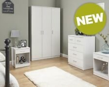 NEW Contemporary White 4 Piece Bedroom Set Wardrobe, Chest & 2x Lamp Tables