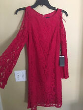 NEW ADRIANNA PAPELL Lace HOT PINK cold shoulder Dress Size 2 $140 Beautiful