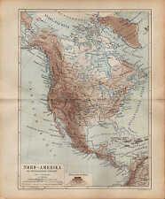 Landkarte map 1874: NORD-AMERIKA. Oro-Hydrografische Übersicht. U.S.A. Mexico