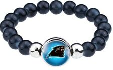 Carolina Panthers Women's Men's Black Bead Bracelet Bangle D900