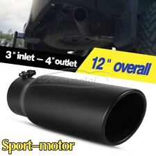 "3"" Inlet 4"" Outlet 12""inch Long Rolled End Angle Cut Exhaust Tip Tail Pipe Black"