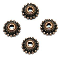 ML3162p Antiqued Copper 7mm Dotted Round w Twisted Rope Metal Bead Caps 100/pkg