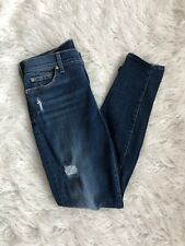 Seven For All Mankind The Ankle Skinny Jeans with Distressing, sz 27