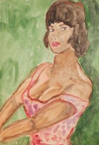 Vintage watercolor painting female portrait