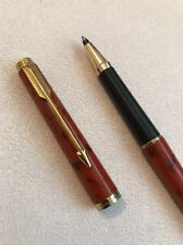 1981 PARKER 180 LAQUE RED JASPER GOLD TRIM ROLLERBALL PEN-FRANCE-EXWO