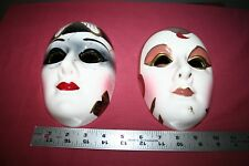 2 Colorful Clay Art Masks in Brown, Red Gold, Black, & White