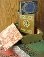 Victorian Trading Co Set of 5 Antiqued Book Storage Boxes Magnetic Closure