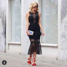 Genuine Self-Portrait Black lace Midi Dress UK4-6 US0-2 BNWT
