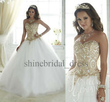 Princess Gold Lace Quinceanera Dresses School Formal Prom Wedding Ball Gown2016