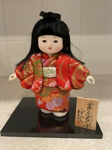 Ichimatsu Doll Red Silk Kimono Obi Gofun Girl 7.5 inches