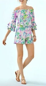 Lilly Pulitzer NWT Calla Romper Tint Mermaid In The Shade $138 Size XXS
