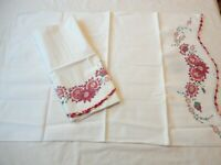 Pillow Cases Set 2 Vintage Muslin White with Hand Painted Floral & Crochet Edge