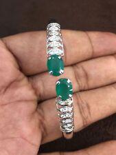 Classy 2.80 Cts Natural Diamonds Emerald Cuff Bracelet In Fine Hallmark 14K Gold
