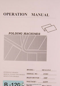 Birmingham VH-410-6, Folding Machine, Operations Manual