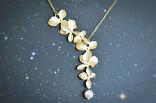 ! NiX 1294 Gold Orchid Flower Necklace Pearl Drop Pendant Women Girl Necklace