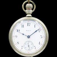 BIG 1910 Elgin Mechanical Pocket Watch Grade 294 Silver Color Large 18s 7 Jewels