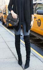Aldo Haskova Black Suede OTK Boots Stacked Heel Laces Up The Back $220 38.5/8B