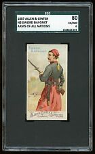 "1887 Allen & Ginter N3 Arms of All Nations ""Sword Bayonet"" SGC 80 EX/NM 8022-034"