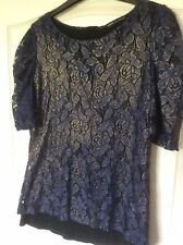 """Mango Blue Short Sleeved Lacey Lined Top with Gold Shimmer Chest 36"""""""