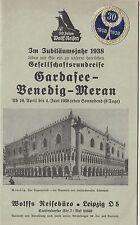 Reise Broschüre Wolff Leipzig -Gardasee Venedig Meran - 1938 !