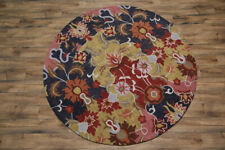 Traditional Floral Hand Tufted Round 8x8 Oushak Agra Oriental Area Rug Carpet