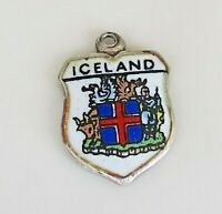 ICELAND ~ Vintage Silver Enamel Travel Shield Charm for Souvenir Bracelet