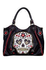 Banned Gothic Tattoo Candy Sugar Skull Floral Rockabilly  Shoulder Bag Handbag