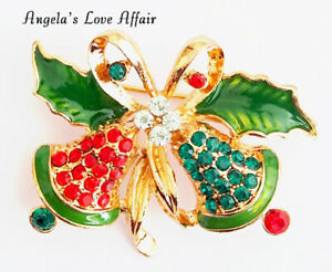 CHRISTMASY GOLD MULTI COLOURED CRYSTAL ENAMEL CHRISTMAS BELLS HOLLY BROOCH BADGE