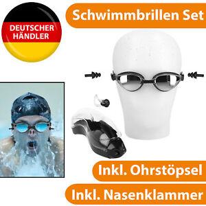Schwimmbrille Nasenklammer Ohrstöpsel Taucherbrille Schwimmen Tauchen Wasser Set