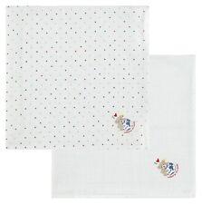 Steiff newborn Baby 2er Mulltücher diaper Bärenapplikation Dots weiß neu