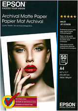 PAPEL FOTOGRAFICA INKJET EPSON 50 HOJAS A4 189 G/M2 ARCHIVIAL MATE PAPEL